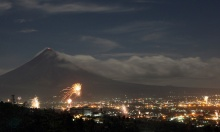 Mayon and fireworks 2010